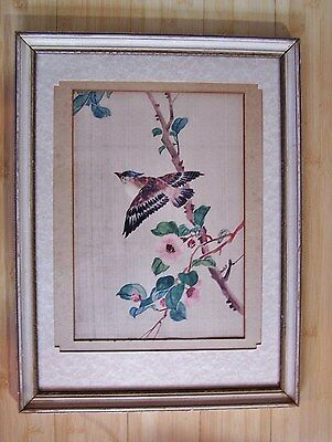 Antique Chinese HP Watercolour Painting on Silk SPARROW BIRD w Dogwood Flowers
