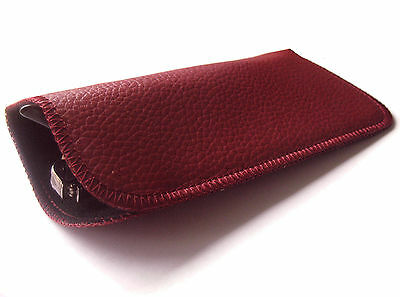 Slip In Spectacle Soft Touch Stitched Glasses Case Sleeve Maroon Red or Black