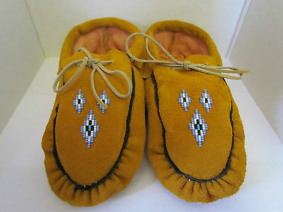 Native American Beaded Moccasins 9 Inches Hand Made Blue Beadwork With Ties