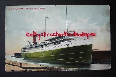 Steamer JUNIATA at Dock, DULUTH, Minnesota vintage postcard 1910, steam ship