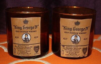 King George IV Old Scotch Whisky Amber Glasses Gold Trim Advertising Set of 2