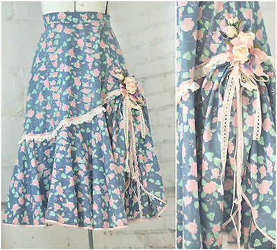 Country floral Peasant skirt, Side gathered skirt, Corsage skirt