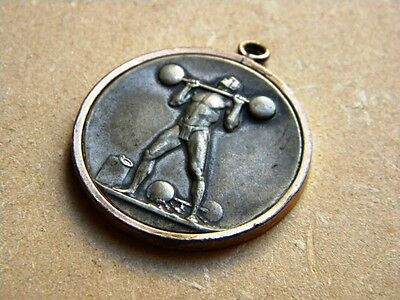 Antique Metal Medal Lifting Weight Merit Prize 1917