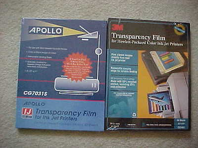 Lot 2 boxes SEALED TRANSPARENCY FILM 100 sheets total 3M CG3460 & Apollo CG7031S