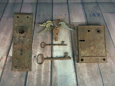 Vintage Brass Plate Lock Skeleton Keys Antique RUSTY Old Keys Rustic Rusted Old