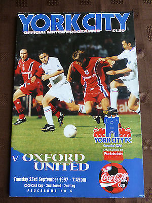 York City V Oxford United 23-09-1997 Coca Cola Cup Round 2 2Nd Leg Programme