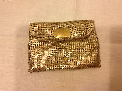 Vintage Whiting and Davis Gold Mesh Evening Bag Handbag Clutch purse