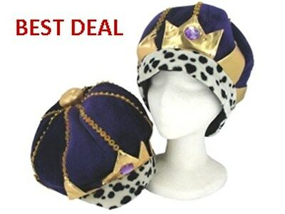 Mardi Gras King's Jeweled Royal Crown Party Hat Gold/Purple Costume Velvet Adult