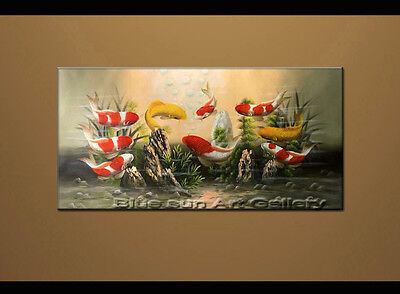 Large MODERN ABSTRACT OIL PAINTING Feng Shui Fish Koi Canvas wall Art Framed B43