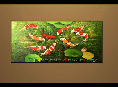 Large MODERN ABSTRACT OIL PAINTING Feng Shui Fish Koi Canvas wall Art Framed B45