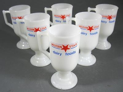 Retro/vintage 60s-70s milk glass Western Star butter mug/cup x 6