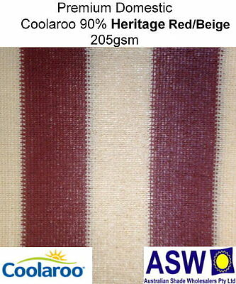 90% UV 1.83m (6') Wide HERITAGE RED/BEIGE Domestic SHADECLOTH Coolaroo Knitted