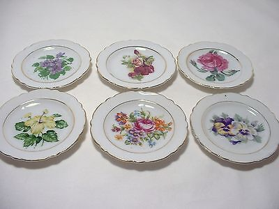 Set of 6 Vintage Antique Japan Porcelain Butter Pats Assorted Floral Flowers