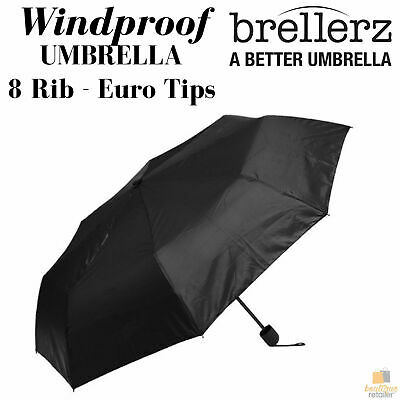 25cm BRELLERZ Windproof Umbrella 8 Rib with Safety Close Feature Travel Rain New