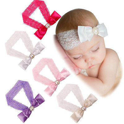 Baby Girl Kid Lace Headband Hair Band Bow Accessories Headwear Elastic Headdress