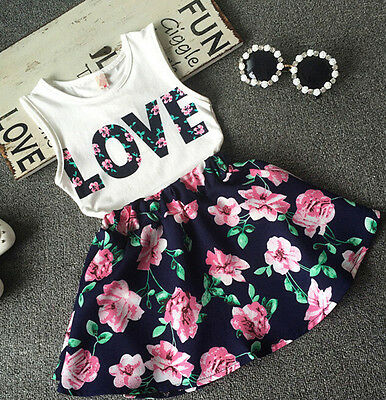 2pcs Toddler Kids Baby Girl Outfit T-Shirts Tops+Floral Skirt Dress Clothes Set