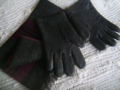 SET of TWO(2) Winter Accessories PLAID WOOL SCARF & Steinberg LEATHER GLOVES EUC