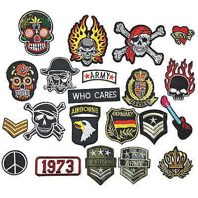 Aufnäher PATCH Abzeichen  Patches Totenkopf Gitarre Love Peace Army SET