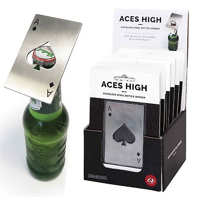 ACES HIGH BOTTLE OPENER - Credit Card Wallet Size Steel Beer Drink Opener **NEW*