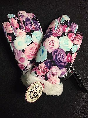 Girl's winter gloves with flowers and thinsulate lined Size M
