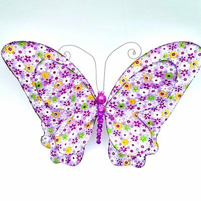Purple Floral Print Butterfly Hanging 3D Wall Decor Nursery Kids Girl Room Decor