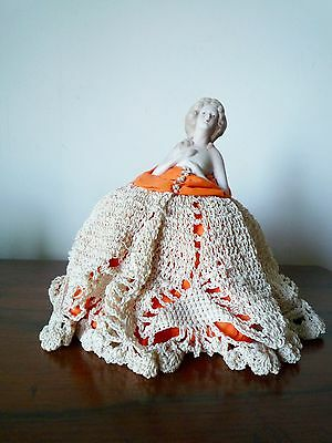 Antique Porcelain Pin Cushion Doll Half Doll