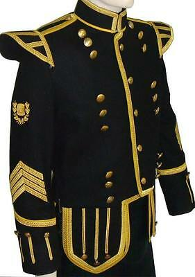 ProfesionalHand Made Black Mens Military Piper Drummer Doublet Jacket 100% Wool