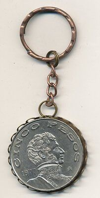 1977 Mexican 5 PESOS Coin Key Ring  #FO07
