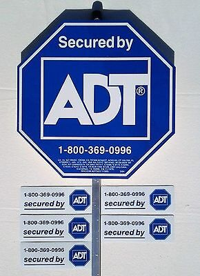 ADT SECURITY YARD SIGN and 5 DOUBLE SIDED WINDOW STICKERS ..... WEDNESDAY SALE