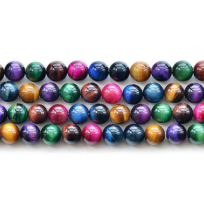 """Natural Colorful Tiger's Eye Stone Gemstone Round Spacer Loose Beads 15"""""""