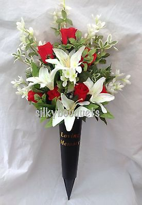 Artificial Silk Flower Grave Spike Arrangement Vase Tribute Memorial Crem Rose