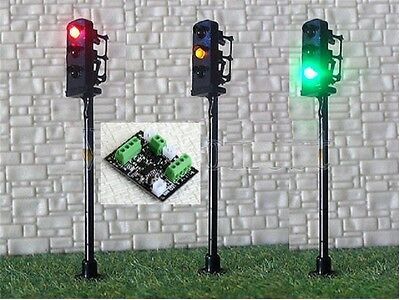 New 2 x Traffic Signal LED Street Light + 1 Control Board HO OO Scale 5cm 4-20V