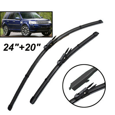 24''& 20'' Windscreen Flat Wiper Blades Front Window Fit  For  Freelander 2 LR2