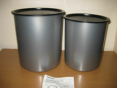 """Tupperware Large Silver Canisters x 2, Black 'OneTouch"""" Lids, New & Unused"""