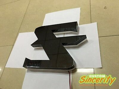 custom-made black stainless steel channel letters led sidelit lighted signages