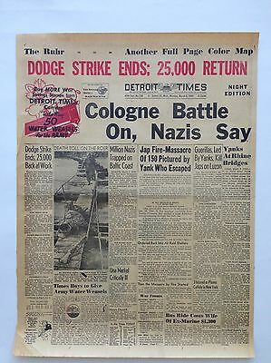 "Detroit Times Front Page March 5, 1945 Newspaper WW2 Ephemera 16"" x 21"""