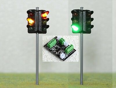 New 1 x 2 Way Traffic Signal Street Light + 4-20V Control Board O Scale 9cm