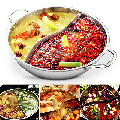 34cm Stainless Steel Hot Pot Cookware Shabu Shabu Dual Site Induction Compatible