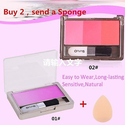 3 Colors Blush Blusher Powder Makeup Palette Cosmetic Shadows Beauty Makeup N IB