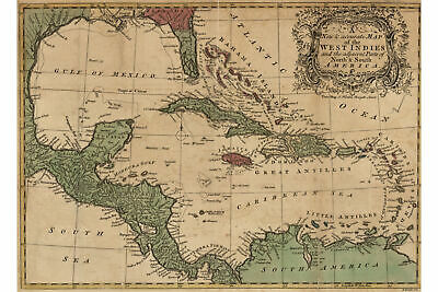 Map of West Indies and Caribbean; Antique Map, 1755