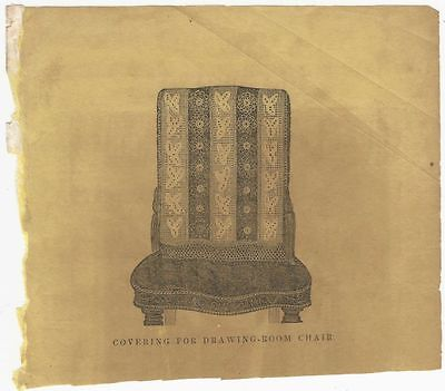 """Nice Victorian Illustration -A  Crocheted """"Covering for a Drawing Room Chair"""""""