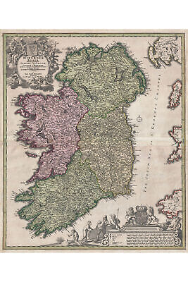 Map Of Ireland; Antique Map; Historic Cartography by Homann, 1716