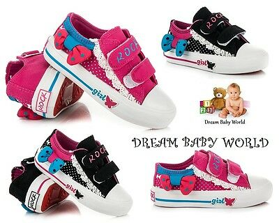 KIDS Toddler Canvas girls shoes trainers Size UK 8-12 BRAND NEW