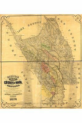 Map of Napa County, California; Antique Map by David L. Haas, 1876