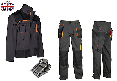 Work Trousers Mens Cargo Combat Style Work Wear Pants Knee pads pockets