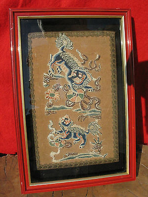 A1009 Framed Antique Chinese Silk Embroidered Appliqué Mother & Baby Foo Dogs