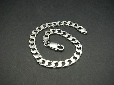 """925 Sterling Silver Solid Flat Curb Linked Bracelet 9.00"""" Inches"""