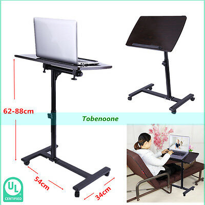 Overbed Rolling Table Over Bed Laptop Food Tray Hospital Desk With Tilting Top &