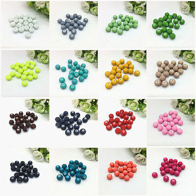 New 4/6/8/10mm Charm Matte Rubber Neon Round Glass Spacer Loose Beads DIY #01-26