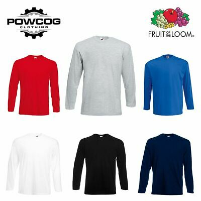 FRUIT OF THE LOOM • Mens Plain Long Sleeve Cotton T Shirt Tee 61038 • 6 COLOURS